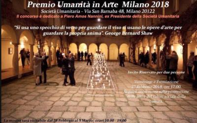 """COLLETTIVA """"UMANITÀ  IN ARTE"""" SOCIETÀ UMANITARIA  MILANO – FEBBRAIO 2018"""